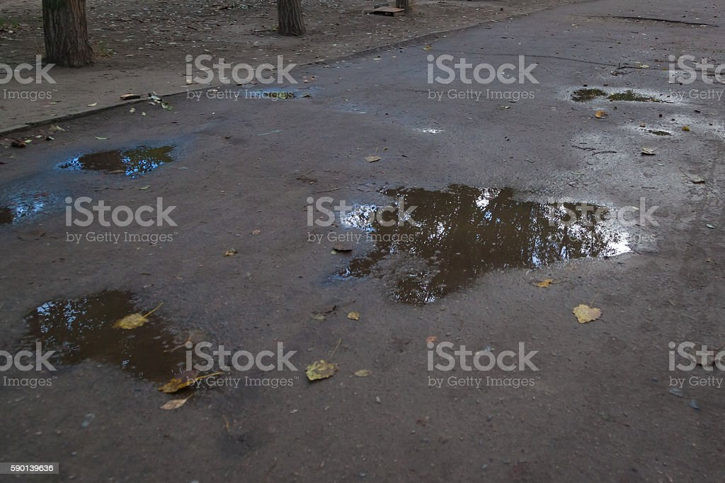Puddles on road after the rain stock photo