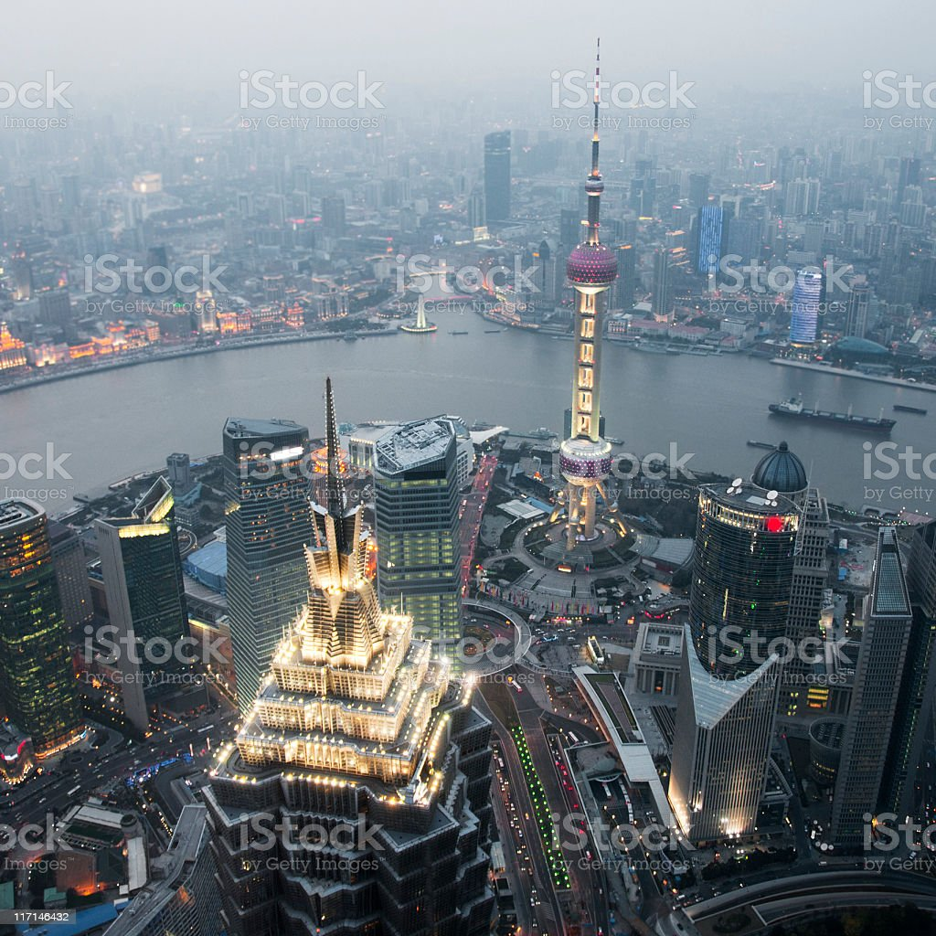 Pudong and Shanghai with Famous Landmarks Lit Up stock photo