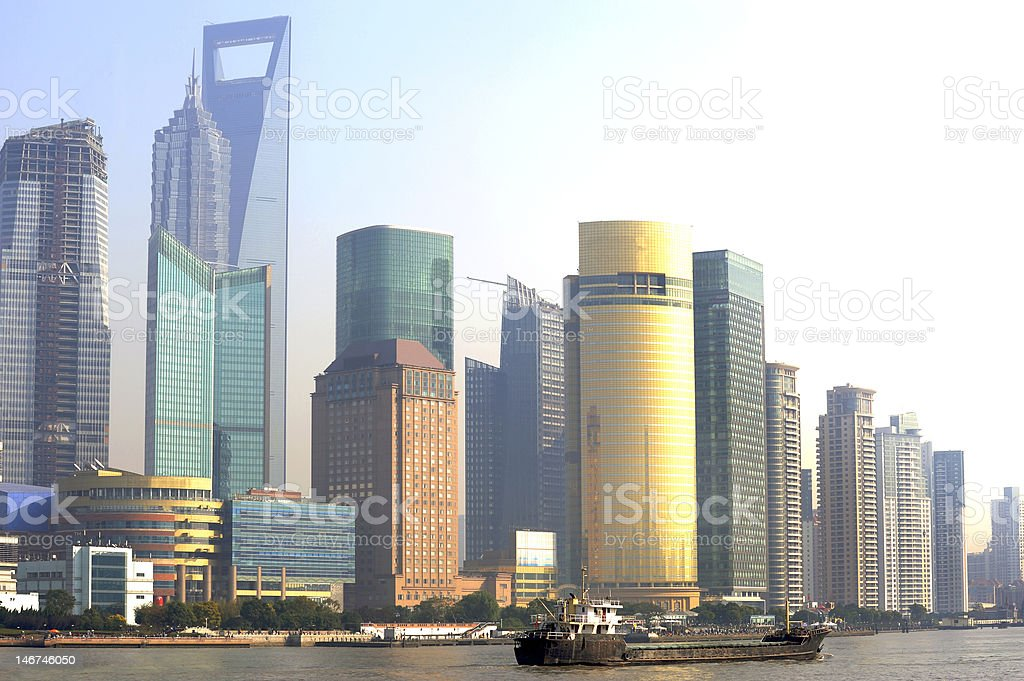 Pudong skyline at sunset, Shanghai, China royalty-free stock photo