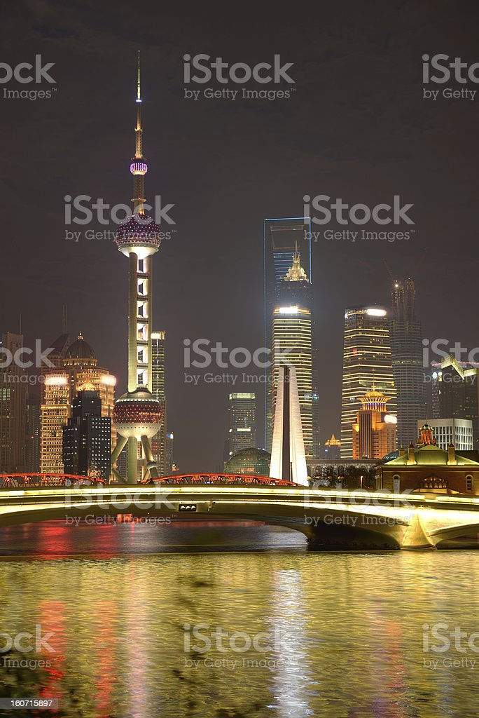 Pudong view with Oriental Pearl Tower stock photo