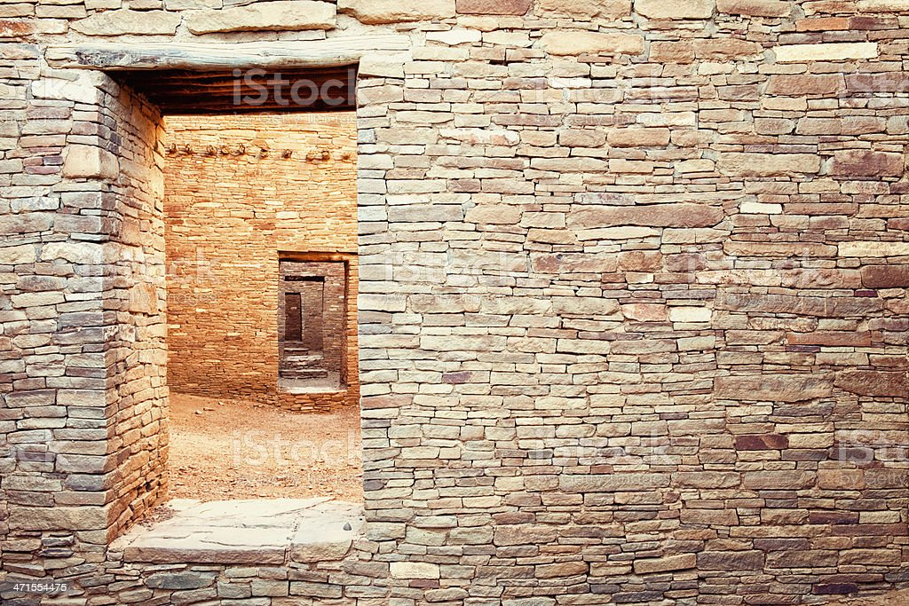 Pueblo Bonito Ruins - Chaco Culture National Historical Park stock photo
