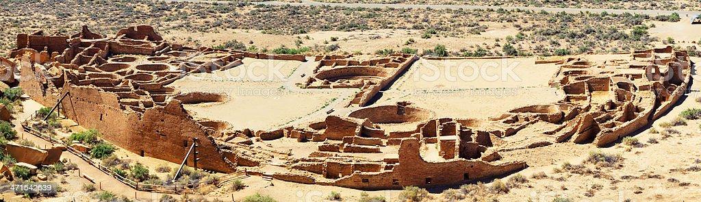 Pueblo Bonito Ruins Panoramic - Chaco Culture National Historical Park stock photo