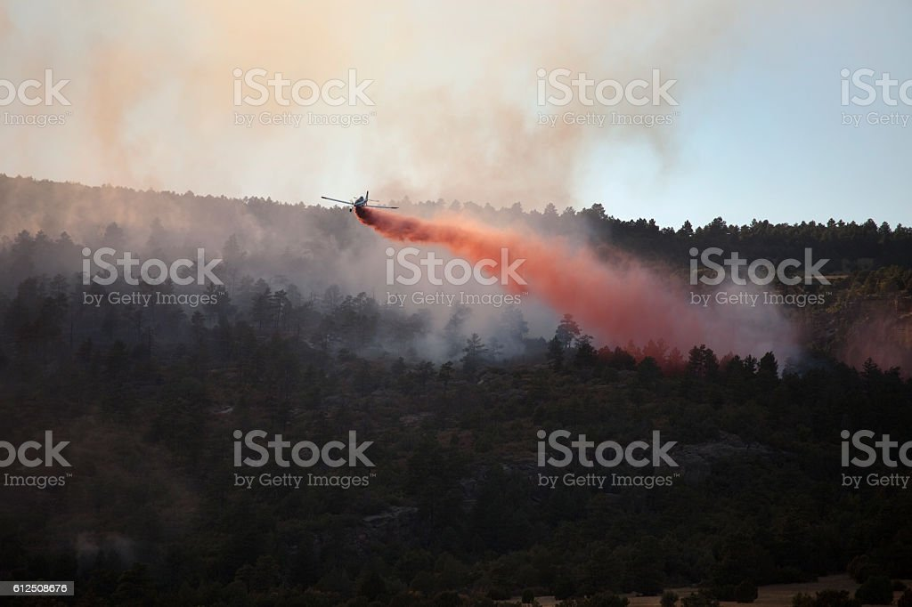 Pueblo Colorado Beulah Hill Fire wildfire smoke slurry bomber plane stock photo