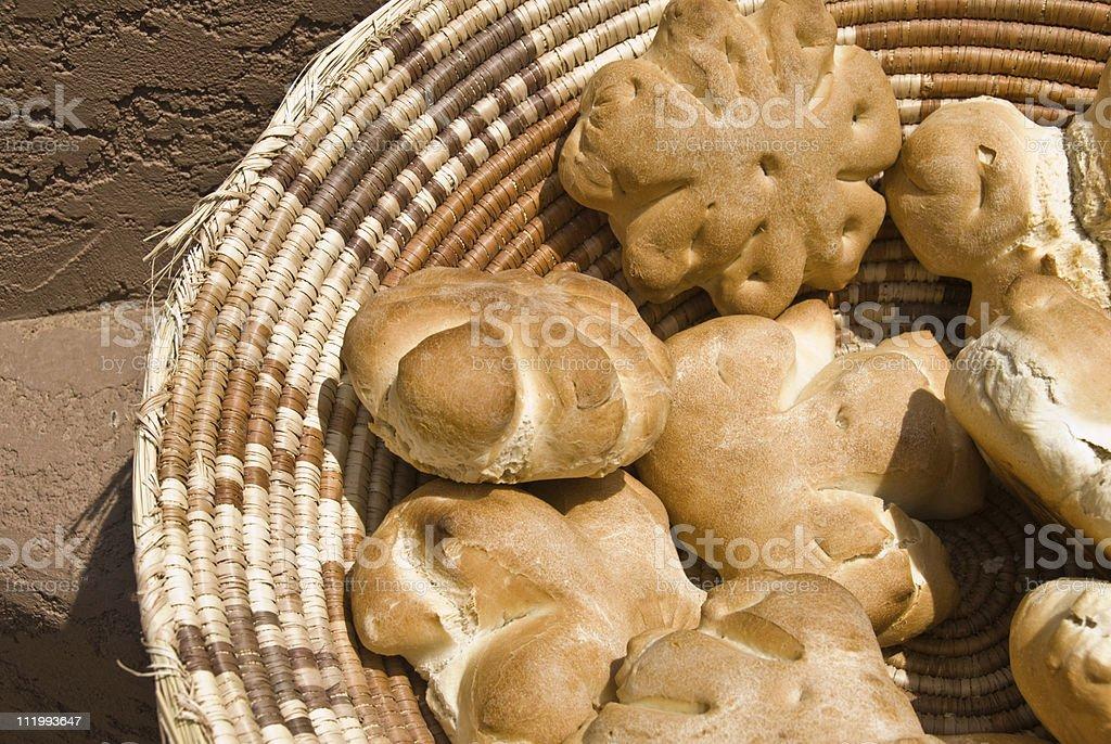 Pueblo Indian Oven Bread in Basket royalty-free stock photo