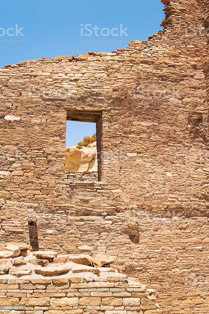 Pueblo Native American Wall, Window, Chaco Culture National Historical Park stock photo