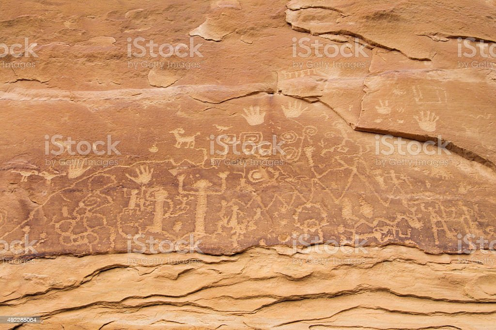 Pueblo Petroglyph Point Trail Art, Mesa Verde National Park, Colorado stock photo