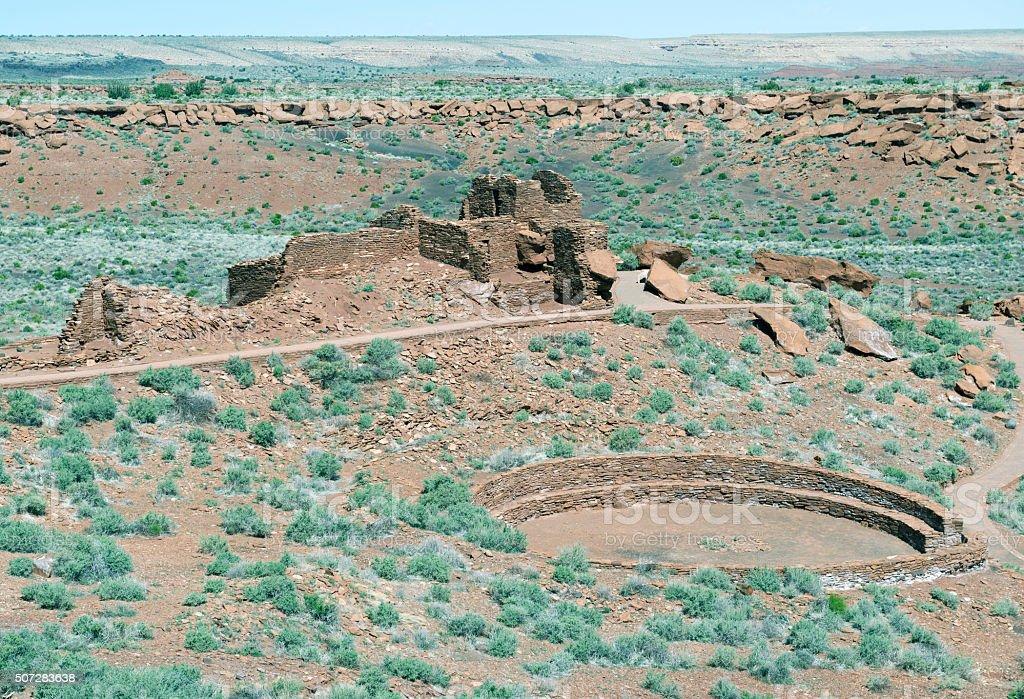 Pueblo ruins at Wupatki National Monument in Arizona stock photo