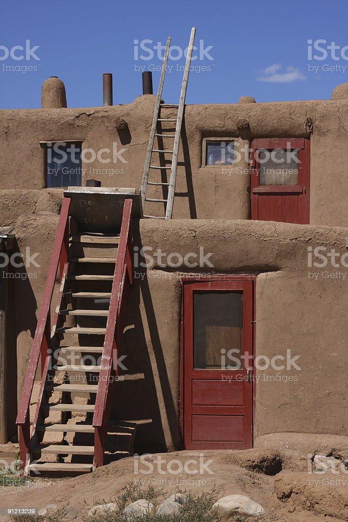 Pueblo village building, Taos, New Mexico stock photo