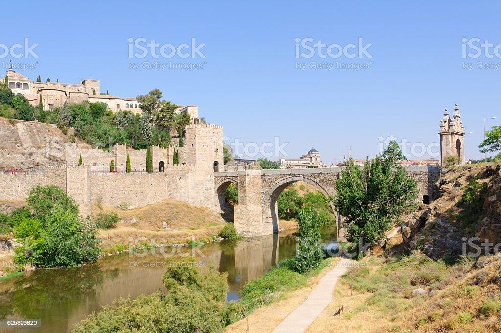 Puente Alcántara and Tagus river in Toledo, Spain stock photo