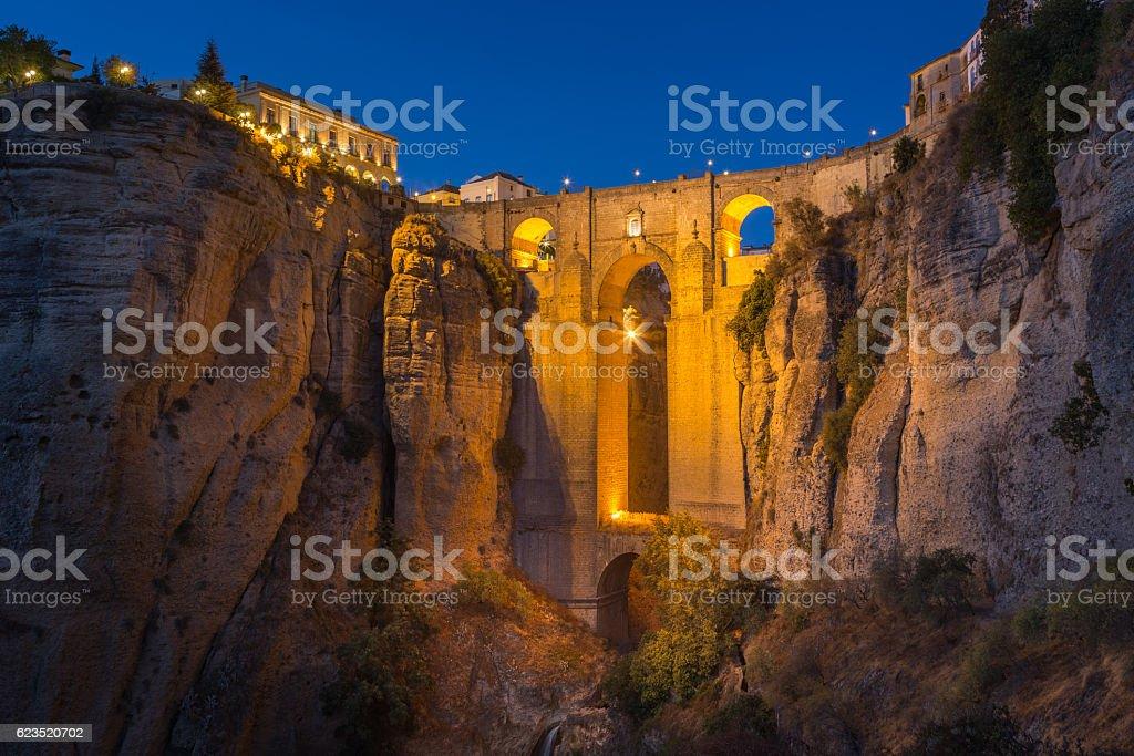Puente Nuevo and El Tajo Canyon during twilight, Ronda, Spain stock photo