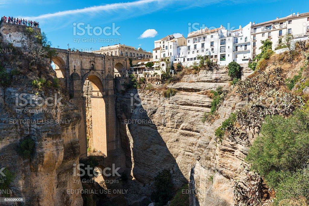 Puente Nuevo bridge and white houses in Ronda, Spain stock photo