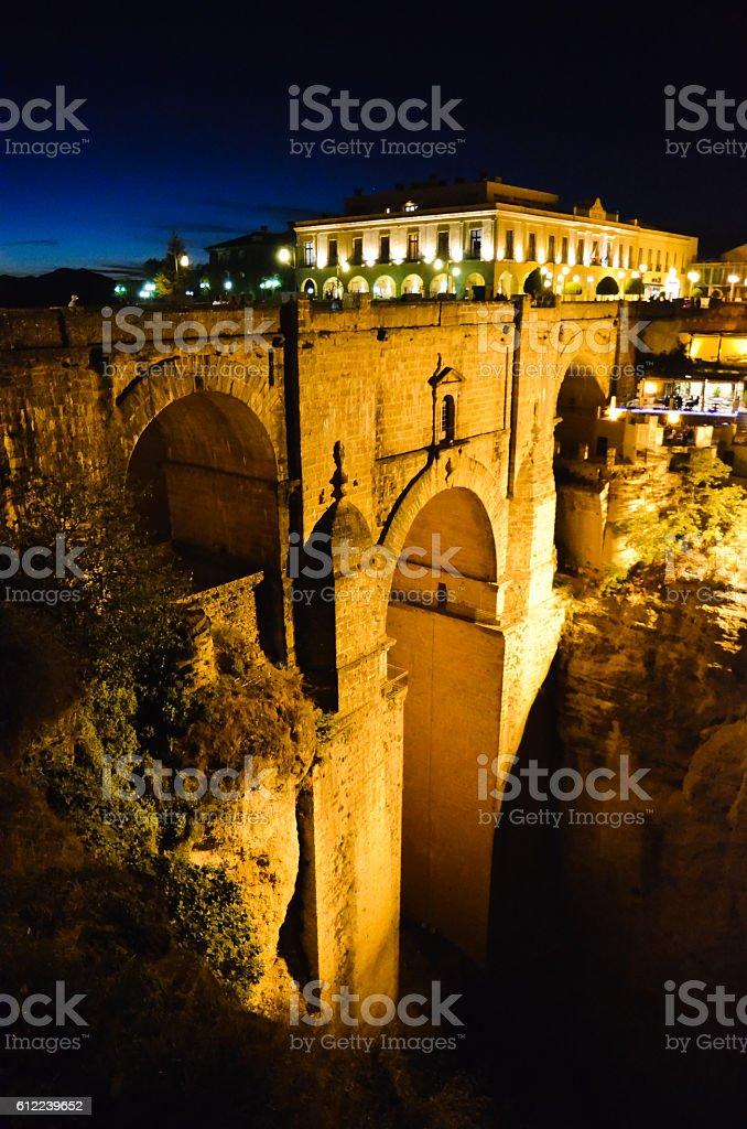 Puente Nuevo in the Night, Ronda (Spain) stock photo