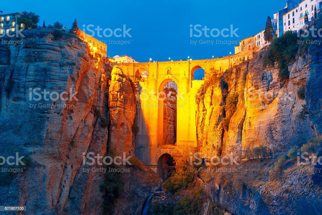 Puente Nuevo, New Bridge, at night in Ronda, Spain stock photo