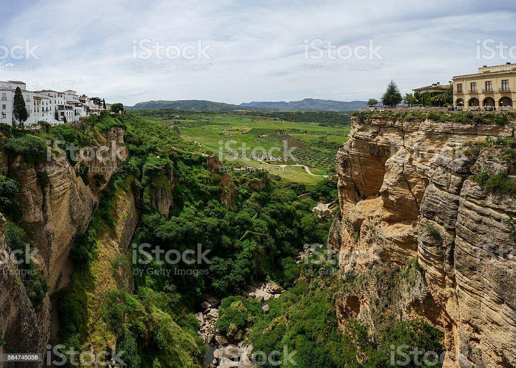 Puente Nuevo & Río Guadalevín in Ronda, Spain stock photo
