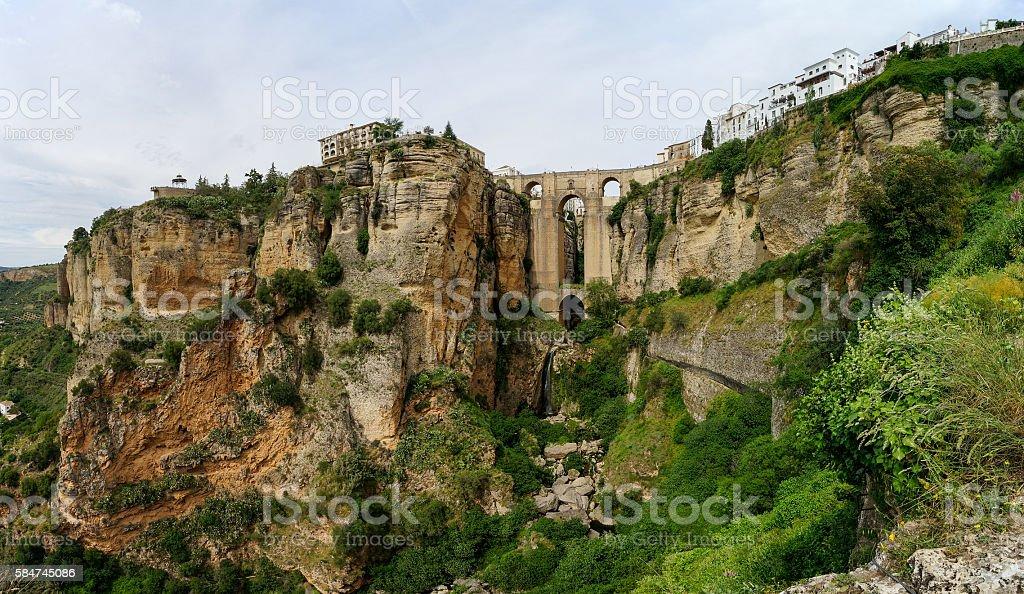 Puente Nuevo & Río Guadalevín waterfall in Ronda, Spain stock photo