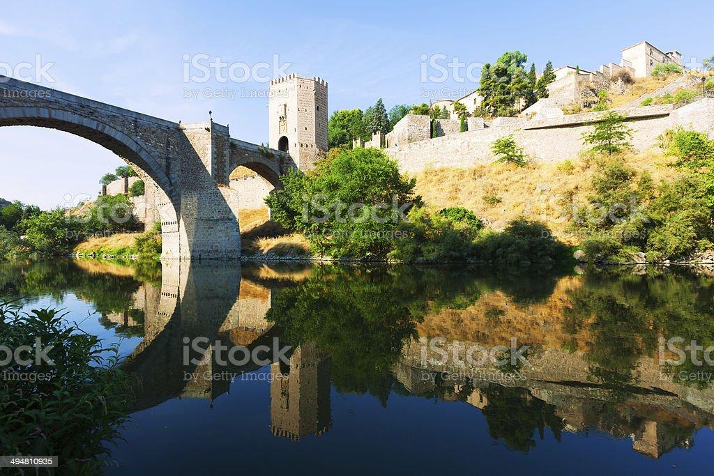 Puente of Alcantara in sunny day. Toledo stock photo