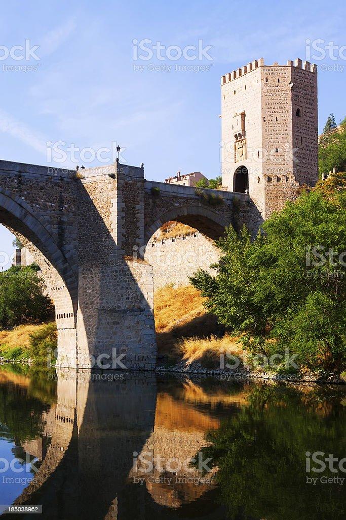 Puente of Alcantara over Tagus River stock photo