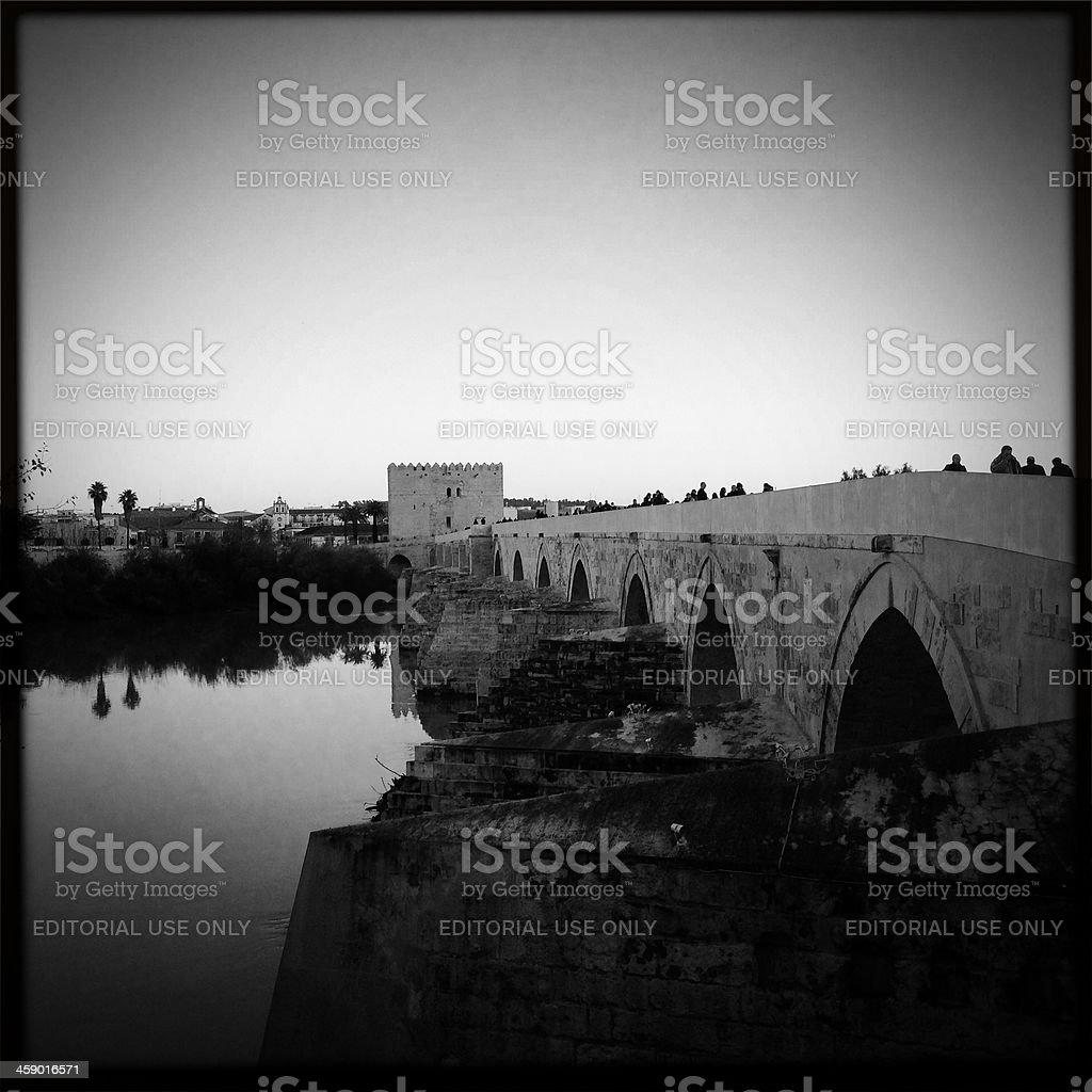 Puente Romano at dusk royalty-free stock photo