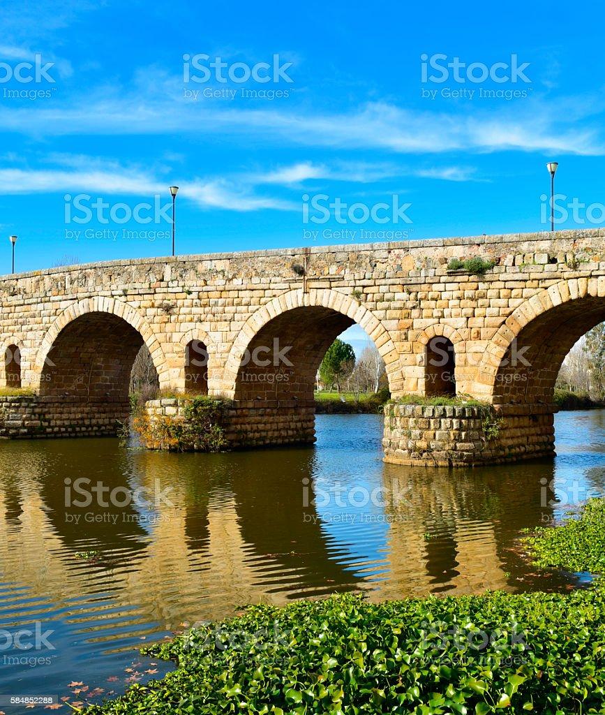 Puente Romano bridge in Merida, Spain stock photo