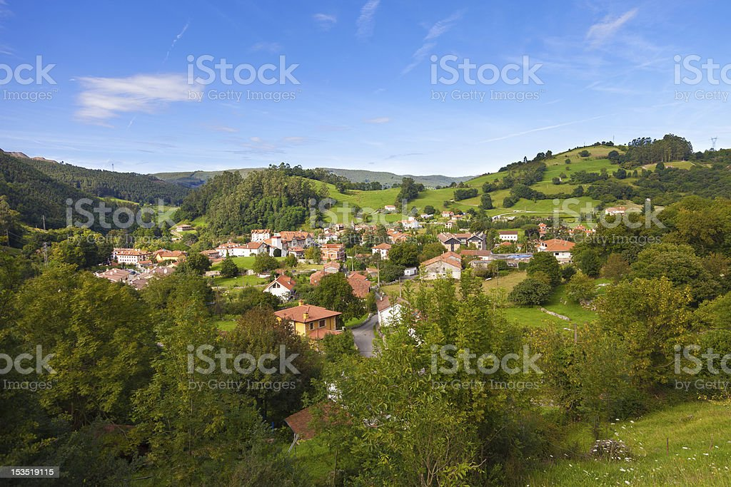 Puente Viesgo roofs at summer, Cantabria stock photo