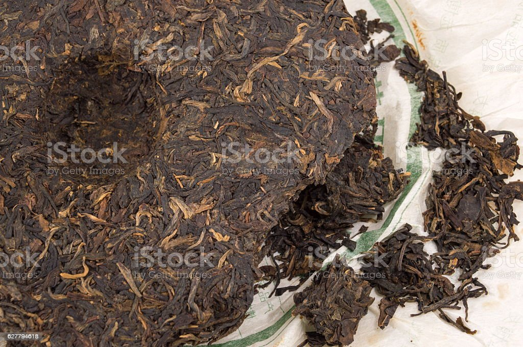 Pu-erh fermented Chinese tea stock photo