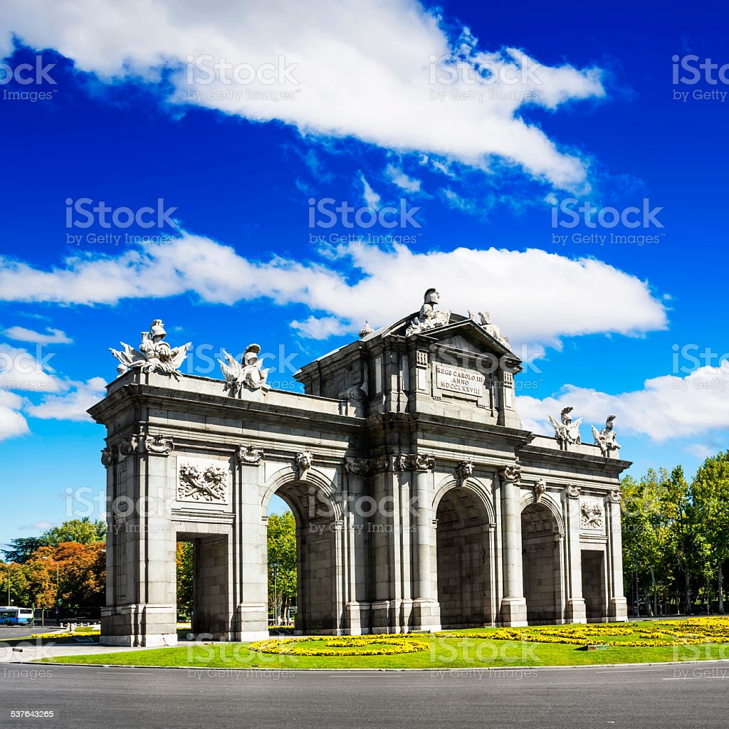 Puerta de Alcala in independence square,Madrid,Spain. stock photo
