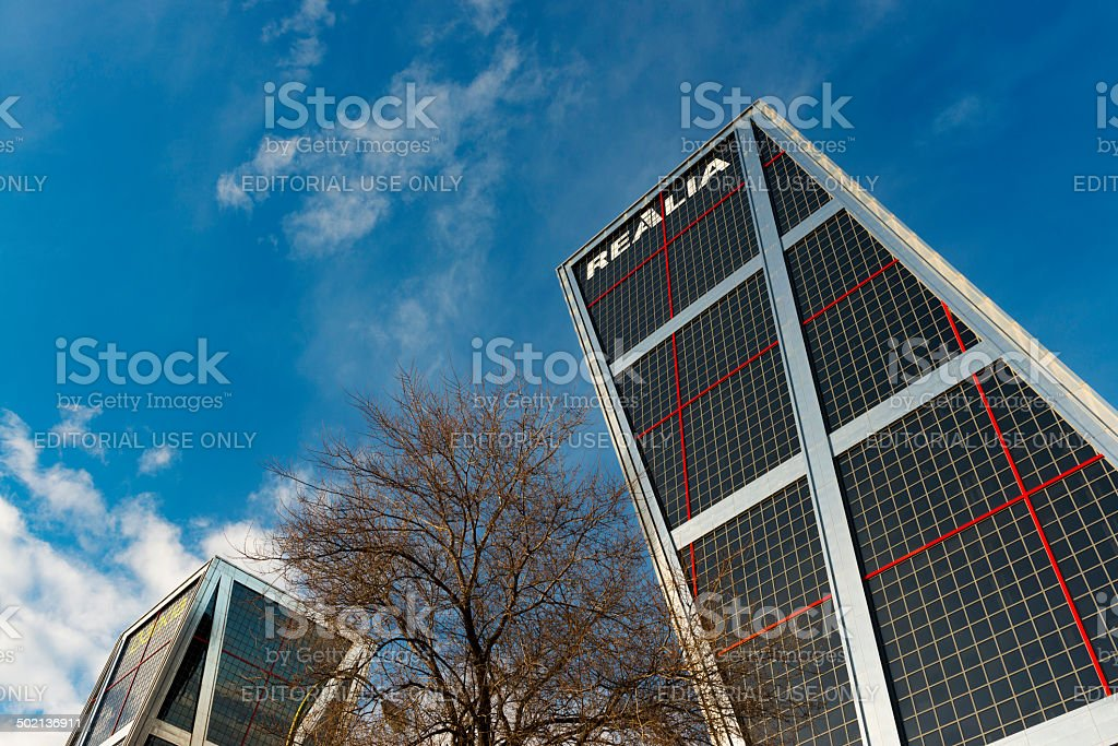 Puerta de Europa leaing twin towers in Madrid stock photo