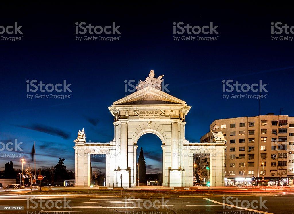 puerta de san vicente madrid spain night traffic motion stock photo