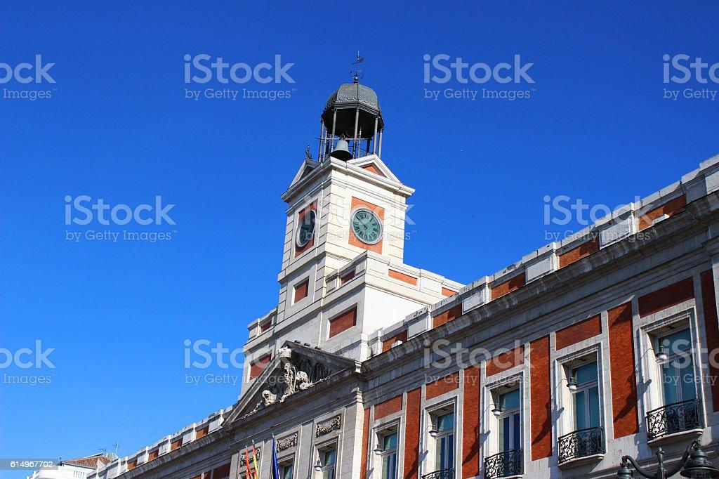 Puerta del Sol clock tower stock photo