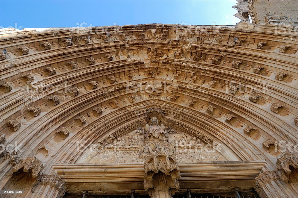 Puerta,Catedral, La Seu Vella, Lerida, spain stock photo