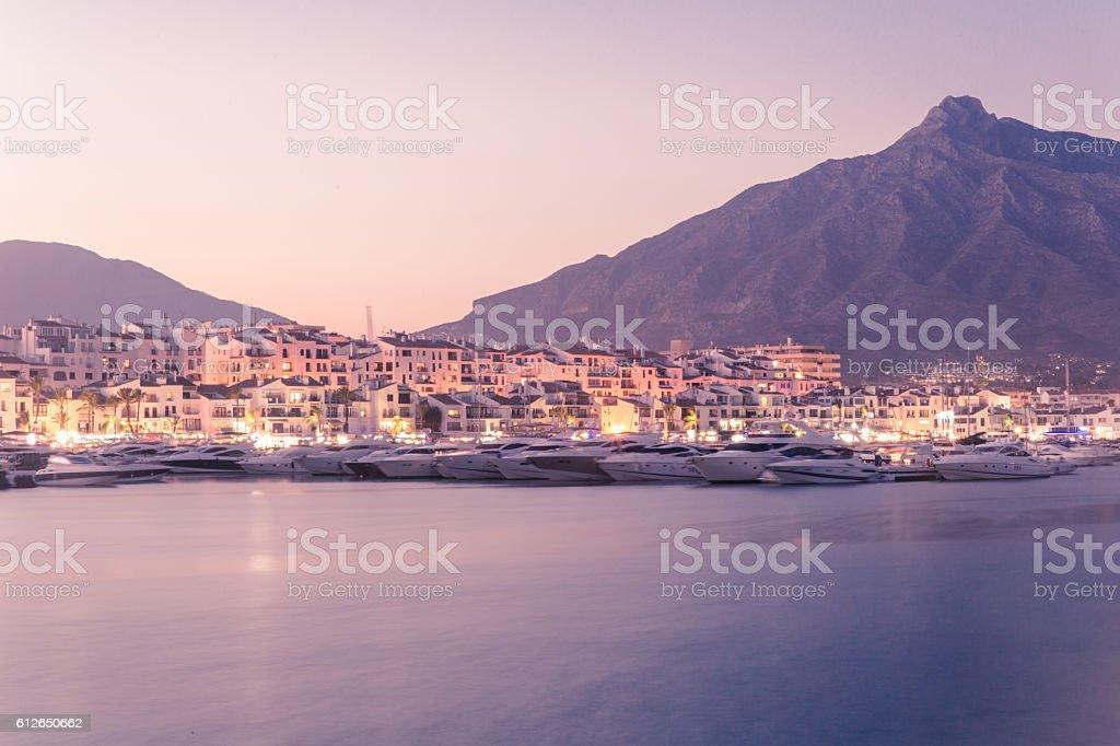 Puerto Banus after sunset stock photo