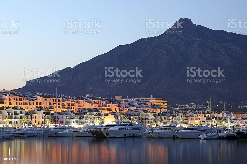 Puerto Banus at dusk, Spain stock photo
