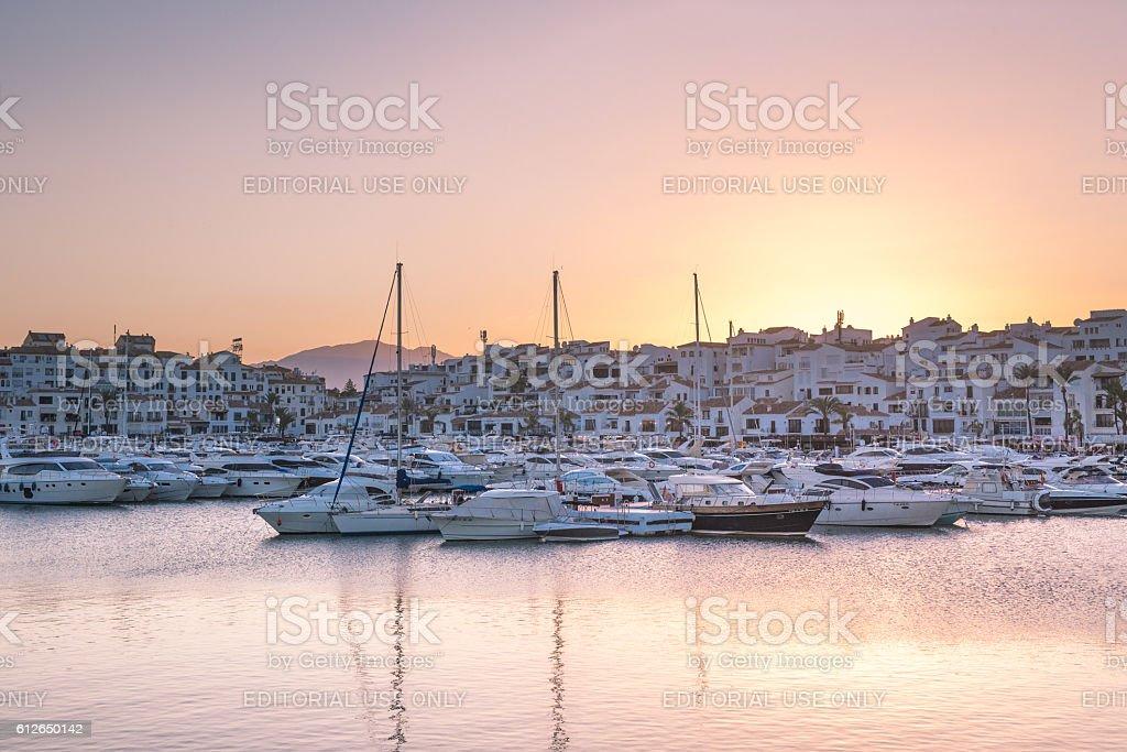 Puerto Banus at sunset stock photo