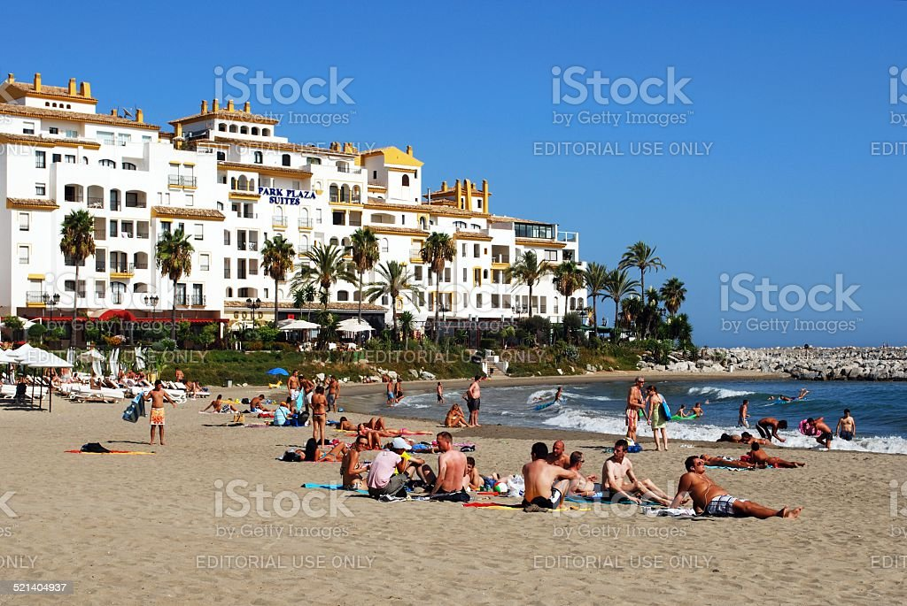 Puerto Banus beach, Spain. stock photo