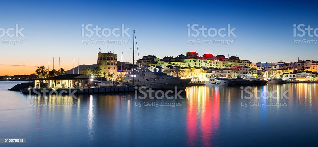 Puerto Banus harbour at sunset in Andalusia, Spain stock photo