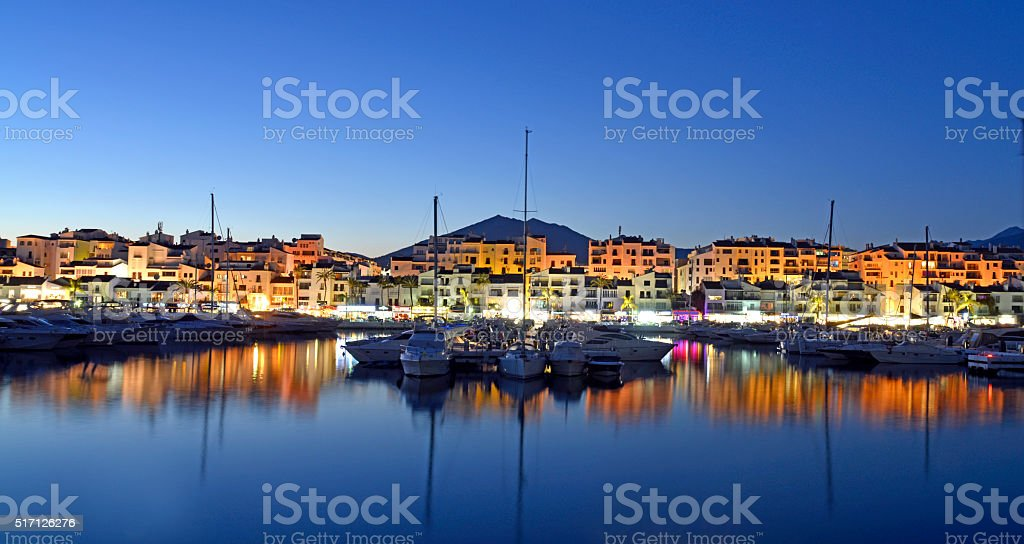 Puerto Banus Marina at night. Marbella Spain. stock photo