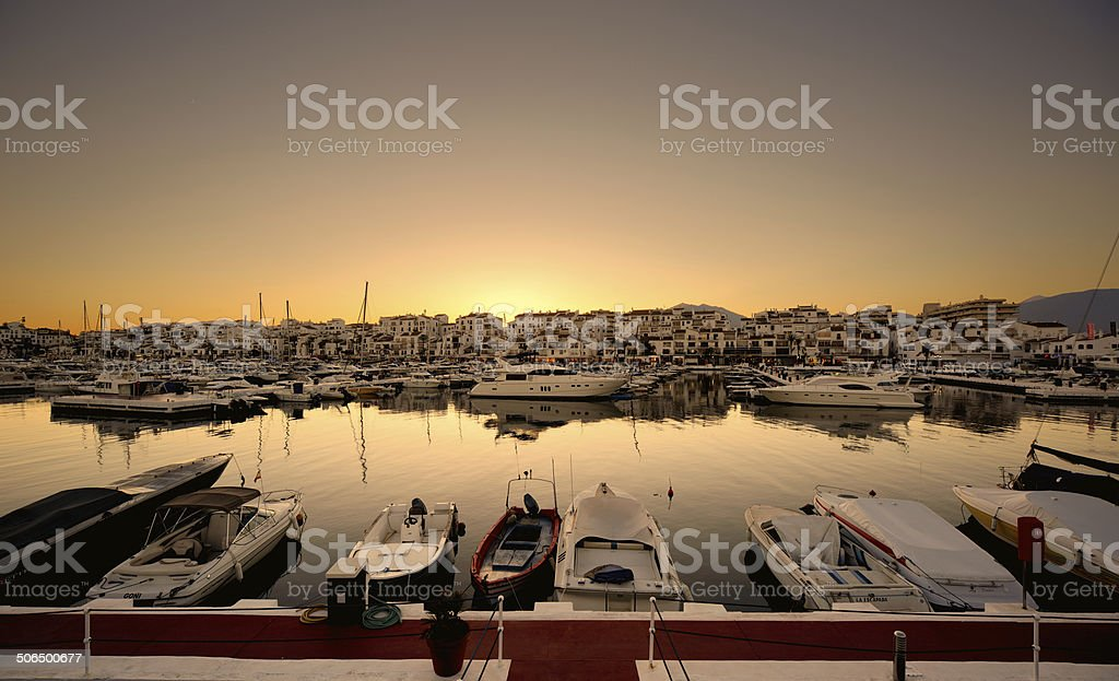 Puerto Banus marina in Marbella, Spain at night stock photo
