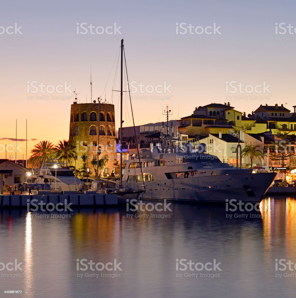 Puerto Banus Marina  Nightime. Andalucia Spain. stock photo