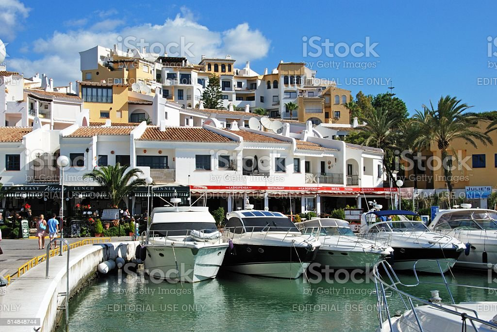 Puerto Cabopino harbour, Spain. stock photo