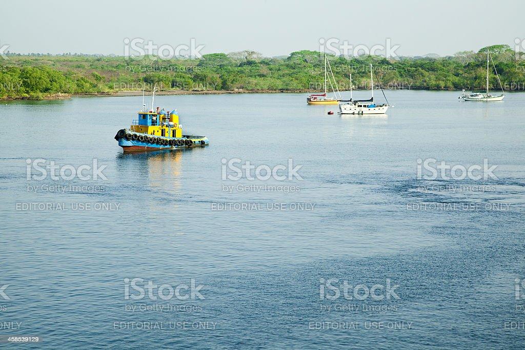 Puerto Chiapas Harbor, Mexico, Tug Boat stock photo