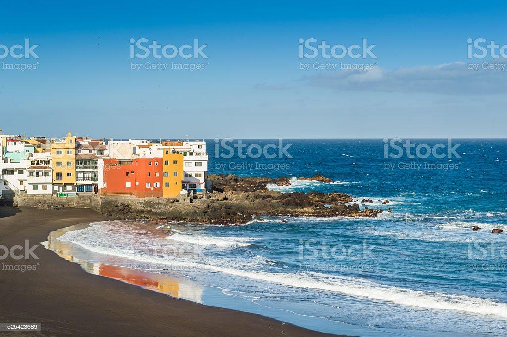 Puerto Cruz best ocean beach with black sand stock photo