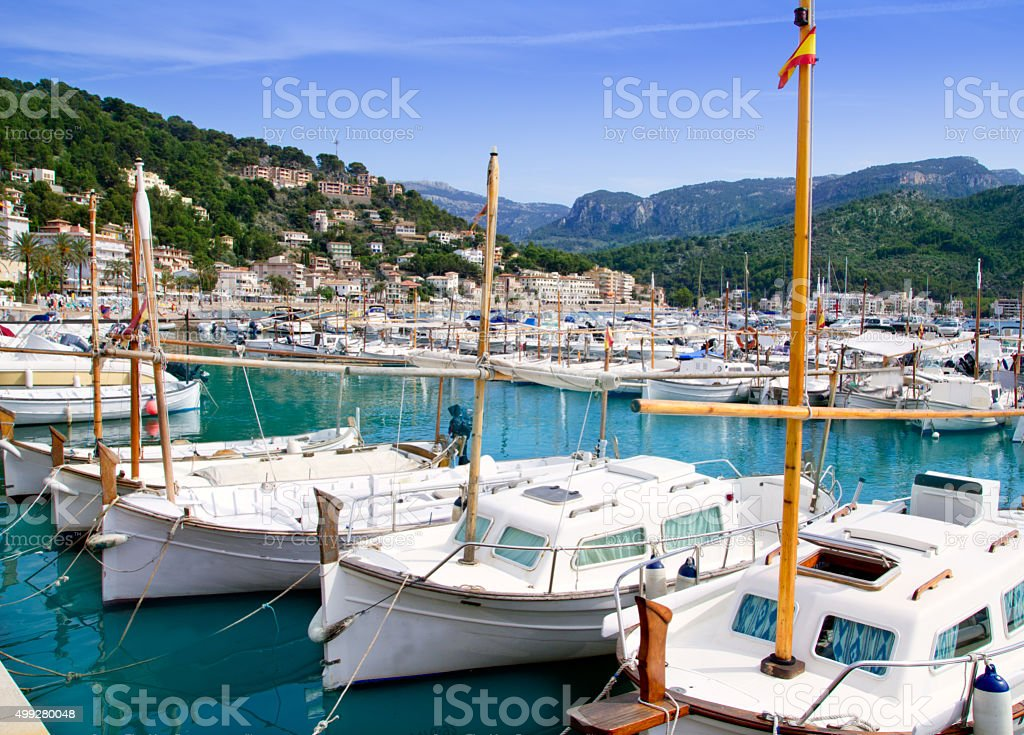Puerto de Soller Port of Mallorca with lllaut boats stock photo