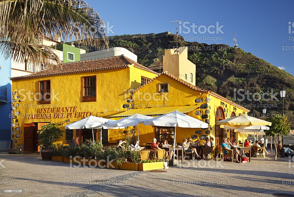 Puerto De Tazacorte Bar, La Palma stock photo