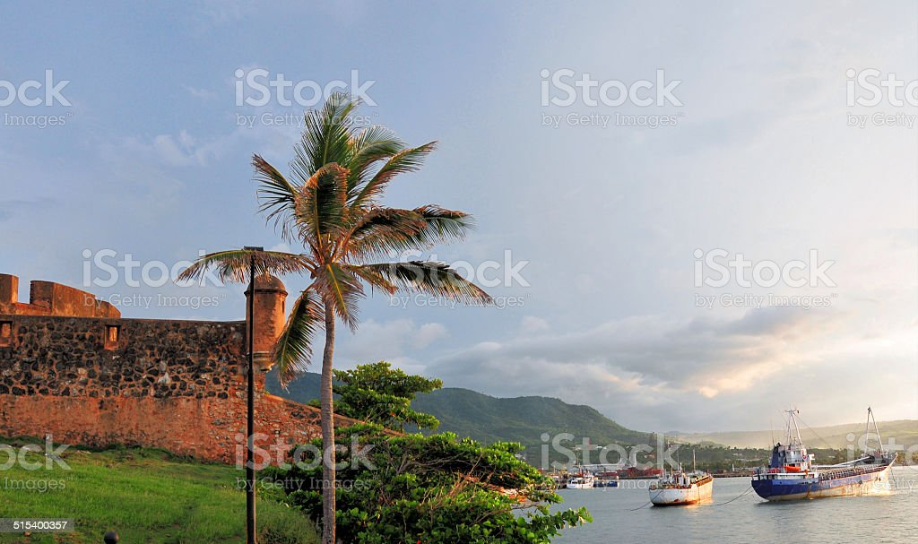 Puerto Plata, Dominican republic: fort and harbor stock photo
