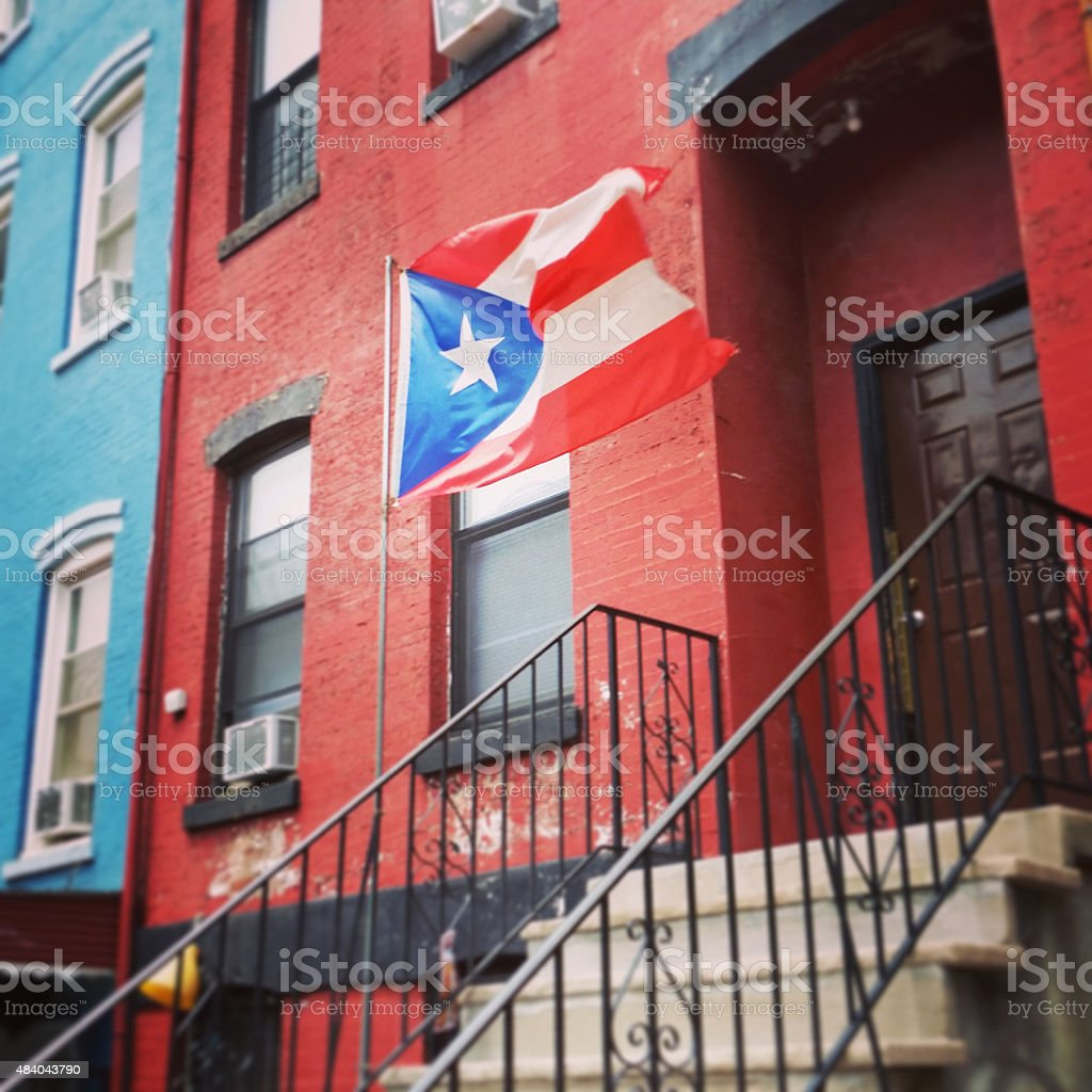 Puerto Rican Flag in Williamsburg Brooklyn NYC Neighborhood stock photo