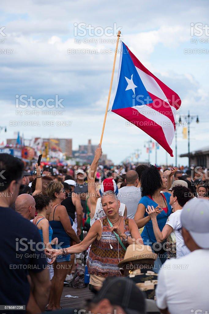 Puerto Rican pride on Coney Island boardwalk stock photo