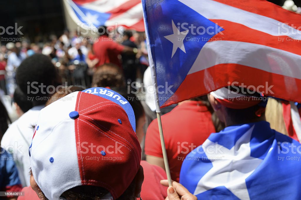 Puerto Rican Pride with Flags and Hats at Parade stock photo