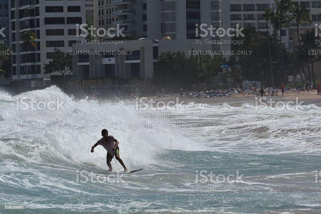 Puerto Rican surfer stock photo