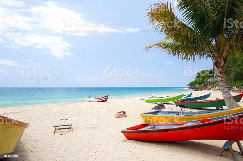 Puerto Rico Crash Beach Boats Horizontal stock photo