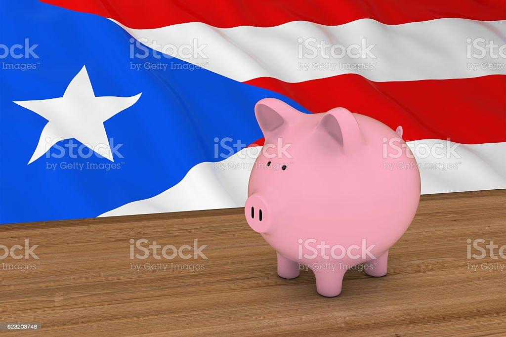 Puerto Rico Finance  Piggybank in front of Puerto Rican Flag stock photo